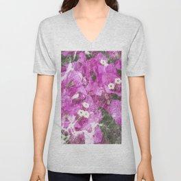 Pink flowers marble Unisex V-Neck