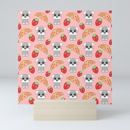 Cute happy funny baby puppy Schnauzers, sweet adorable yummy Kawaii croissants and red ripe summer strawberries cartoon pastel peach color pattern design Mini Art Print