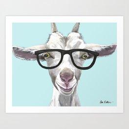 Goat with Glasses, Cute Farm Animal Art Print