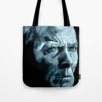clint eastwood Tote Bags featuring Clint Eastwood by artbyolev