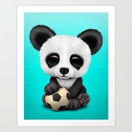 Cute Baby Panda With Football Soccer Ball Art Print