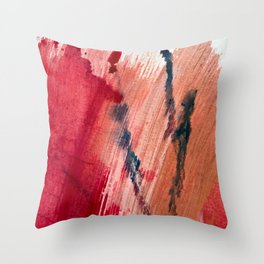 Blushing [2]: a vibrant, minimal abstract in pink, red, and blue details Throw Pillow