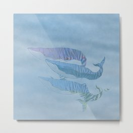 Tiger striped whales swimming up from the deep Metal Print
