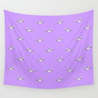 diver Wall Tapestries featuring The Diver - Lilac Pattern by mentalembellisher