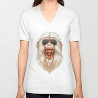 ruben V-neck T-shirts featuring The Great White Angry Monkey by Dr. Lukas Brezak