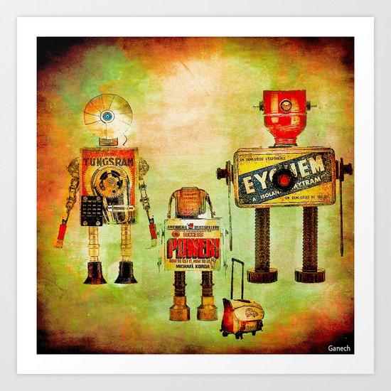 The family robots go to the school Art Print
