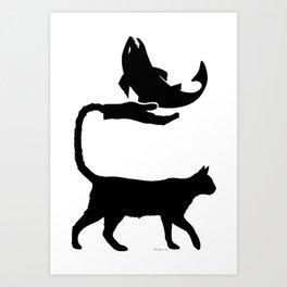 Cat Hand Tail & Fish Silhouette Art Print