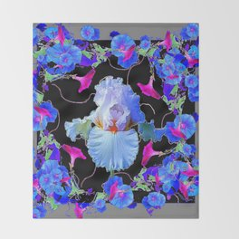 BLUE MORNING GLORIES & WHITE IRIS  SPRING  GARDEN ART Throw Blanket