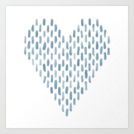 Heart Blue Brush Strokes Art Print