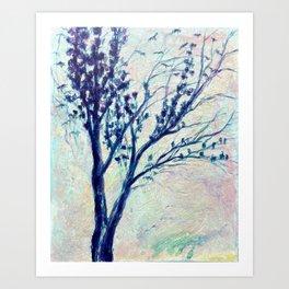 the birds return, blue tree Art Print