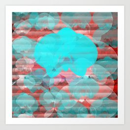 Orchid Print Abstract Graphic Art Blue Red  Art Print