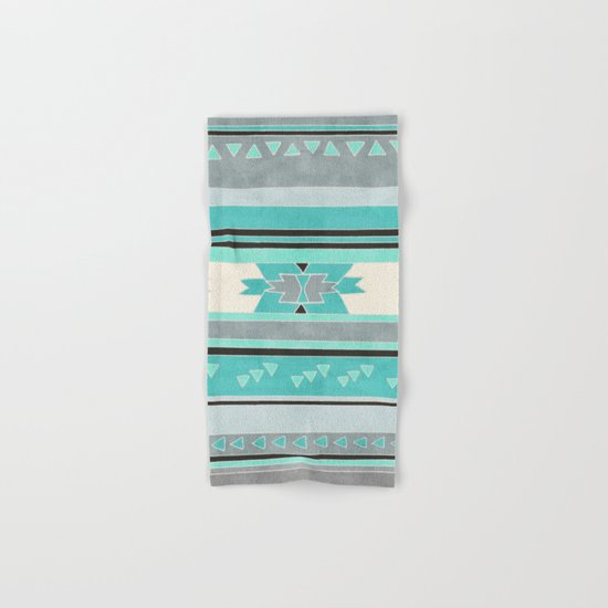 Rustic Tribal Pattern in Teal, Charcoal and Cream Hand & Bath Towel