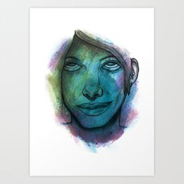 Colourful face Art Print
