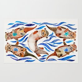 Five Otters – Blue Palette Rug