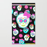 sugar skulls Canvas Prints featuring Sugar skulls by Eviedoll