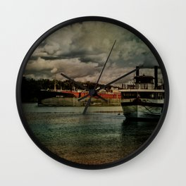 Evening on the Hudson River Wall Clock