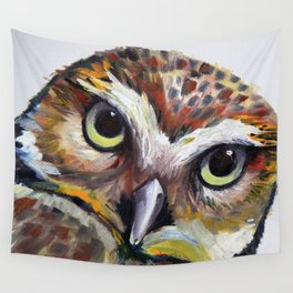 Burrowing Owl Palette Knife Painting in Oil by Award Winning San Francisco Bay Artist Lisa Elley Wall Tapestry