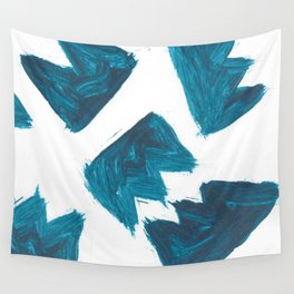 Basquiat Crown, Abstract, Blue Duck Wall Tapestry