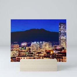 Blue Twilight Sky - Shangri La Hotel and Vancouver Grouse Mountain British Columbia Canada Travel Mini Art Print