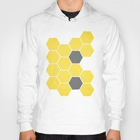 honeycomb Hoodies featuring Yellow Honeycomb by Cassia Beck