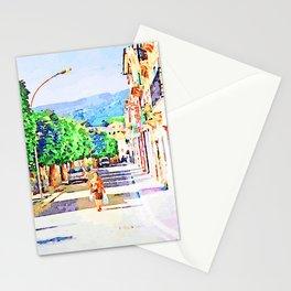 Borrello: woman walks on the road Stationery Cards