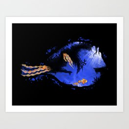 Blue Tang Reef Art Print