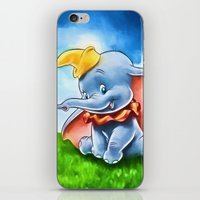 dumbo iPhone & iPod Skins featuring Dumbo by DisPrints