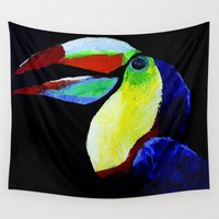 toucan Wall Tapestries featuring Toucan by WITH MY HANDS