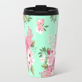 Cottage Chic Roses and Lilacs Floral in Aqua and Pink Travel Mug