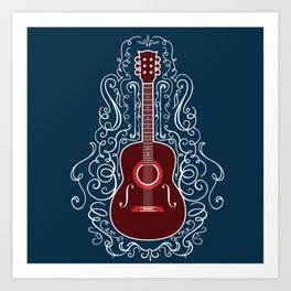 Acoustic Guitar With A Scroll Design Art Print