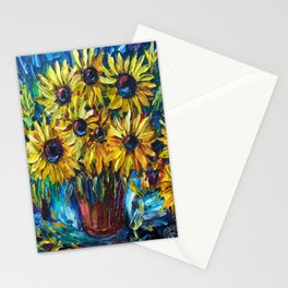 SUNFLOWERS in a Vase — Palette knife painting by OLena Art Stationery Cards