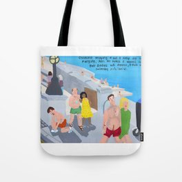 Bad Painting 60: Holiday makers on Margate Sands Tote Bag