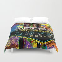 las vegas Duvet Covers featuring Welcome to Las Vegas by Gary Grayson