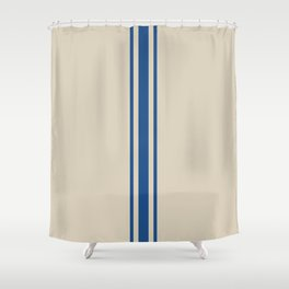 Farmhouse Grain Sack Stripe in Blue Shower Curtain