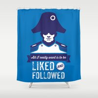 napoleon Shower Curtains featuring Hipster Napoleon by John Clark IV