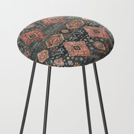 N255 - Vintage Oriental Old Traditional Boho Moroccan Fabric Style Counter Stool