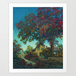 House Under Red Oaks landscape painting, circa 1925 by Maxfield Parrish Art Print
