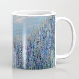 Flower Field Landscape, Blue Home Decor, True Blue Coffee Mug