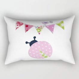 Ladybug with party flags Rectangular Pillow