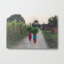 Indian women carrying grass Metal Print