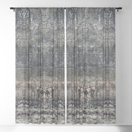 Grey stone Textured Abstract Design Sheer Curtain
