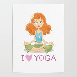 Cute Yoga Girl Sitting in Lotus Pose Poster