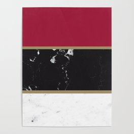 Marble Mix Stripes #2 #black #white #red #gold #decor #art #society6 Poster