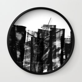 Rolled Ink Texture in Black and White Wall Clock