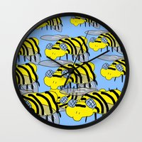 bees Wall Clocks featuring Bees by David Abse