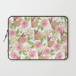 Pink brown watercolor roses floral bunny rabbit Laptop Sleeve