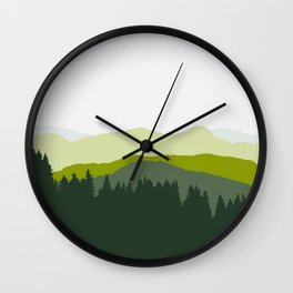 Grassland - Abstract Mountain View Landscape (Blue and Green) Wall Clock