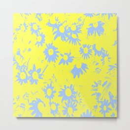 Blue Coneflowers with Yellow Background Metal Print