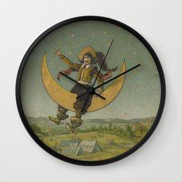 Cyrano de Bergerac on the moon Wall Clock