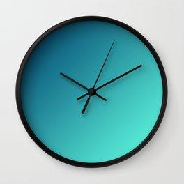 Dark Blue and Light Cyan Aqua Green Gradient Ombré Wall Clock